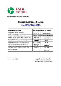 Quality specification Glycerol phase RSI
